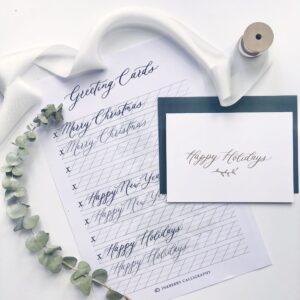 Free Calligraphy Greeting Card Worksheet