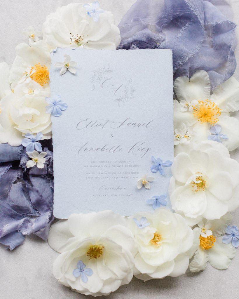 Blue Jasmine Calligraphy Wedding Invitation