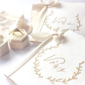 WeddingVowBookGoldLeafWreath